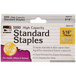 High Capacity Standard Staples, 5/16 Inch Leg Length, 5000/Box