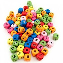 Hygloss Bright Wooden ABC Beads 225 per pack