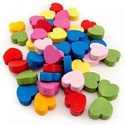 Hygloss Bright Wooden Heart Beads, 125 per pack