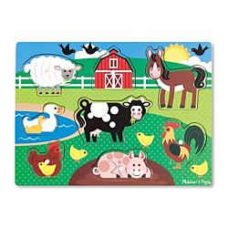 Melissa & Doug Farm Peg Puzzle Wooden Puzzle - 8 Pieces, item 9050