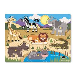 Melissa & Doug Safari Peg Wooden Puzzle - 7 Pieces, item 9054