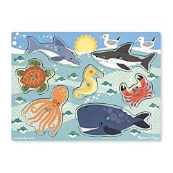 Melissa & Doug Sea Creatures Peg Wooden Puzzle - 7 Pieces, item 9055