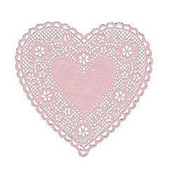 "Hygloss Heart Paper Doilies  Decorative, Pink Lace Doilies, Disposable, 4"" Diameter, 100 Pack"