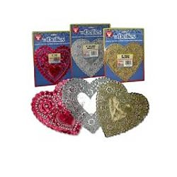 Hygloss 100 Heart Assorted Colors Doilies, 4