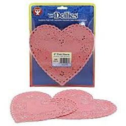 "Hygloss Heart Paper Doilies Decorative, Pink  Lace Doilies, Disposable, 6"" Diameter, 100 Pack"