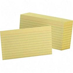 Guccco Colored Ruled Index Cards Canary 100/Pack  3 x 5
