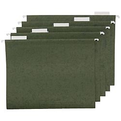 Hanging File Folder with Tab, 1/5-Cut Adjustable Tab, Legal Size, Standard Green , 25 per Box