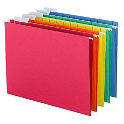 Hanging File Folders, 1/5-Cut Tab, Letter Size, 25 Per Box, Assorted Primary Colors