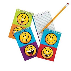 Paper Smile Face Spiral Notepads, 12 units