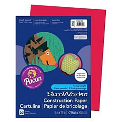 SunWorks Heavyweight Construction Paper, Holiday Red 9