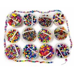Hygloss 9906 Beads Treasure Box - Includes: 12 Buckets of Asst'd Colored Beads with Beading Thread