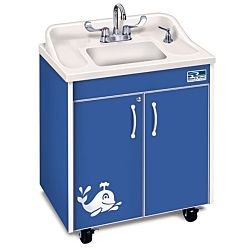 Children's classroom Sink,  Blue Cabinet With White ABS Single Basin and Counter top