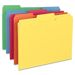 File Folder, 1/3-Cut Tab, Letter Size, Assorted Colors, 100 per Box