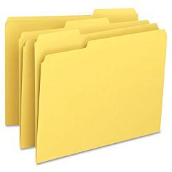 File Folder, 1/3-Cut Tab, Legal Size, Canary ,100 per Box