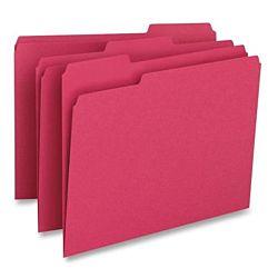 File Folder, 1/3-Cut Tab, Legal Size, Cherry ,100 per Box