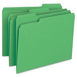File Folder, 1/3-Cut Tab, Legal Size, Green ,100 per Box