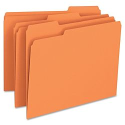 File Folder, 1/3-Cut Tab, Letter Size, Orange ,100 per Box