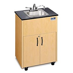 Children and Adults classroom Sink, Maple Cabinet With Stainless Steel Single Basin and Black Counter top