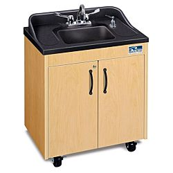 Children's classroom Sink,  Maple Cabinet With Black ABS Single Basin and Counter top