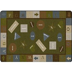 Simple Shapes Muted Colors Classroom Rug