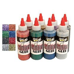 Handy Art  Non-Toxic Washable Glitter Glue Set, Assorted Color (Pack of 8)