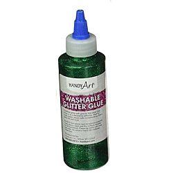 Handy Art Washable Glitter Glue Green, 8-Ounce
