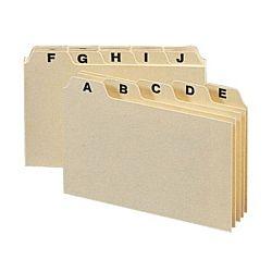 A-Z Index Card Guide Set, 4 x 6 Inches, Manila, 25 per Set