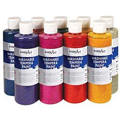 Handy Art Washable Glitter Paint- Silver - 16 oz.