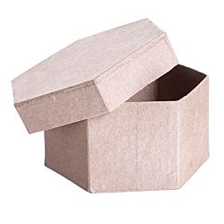 Paper Mache Box Hexagon  4
