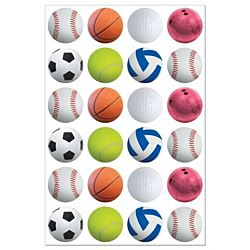 Hygloss Sports Balls - 3 Sheets Stickers (1872)