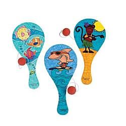 Wooden Color Your Own Tropical Paddleball Games - 12/pk