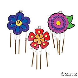 Plastic Flower Suncatcher Wind Chimes Kit - 12 Project Pack