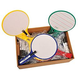 KleenSlate Round Dry-Erase Paddle Board Set, Classroom Pack Of 24