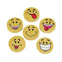 Large Smile Face Pencil Erasers - 1-1/4