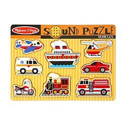 Vehicles Sound Wood Puzzle - 8 Pieces