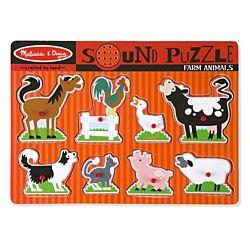 Farm Animals Sound Wood Puzzle - 8 Pieces