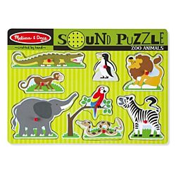 Zoo Animals Sound Wood Puzzle - 8 Pieces