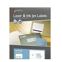 MALaser/Ink Jet White Internet Shipping Labels, 5-1/2 x 8-1/2 Inches, 2 Per Sheet, 200 Per Box, ML-0200