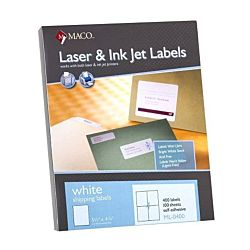 MACO Laser/Ink Jet White Shipping Labels, 3-1/3 x 4 Inches, 6 Per Sheet, 600 Per Box (ML-0400)