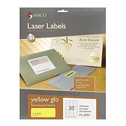 MACO Laser Yellow Fluorescent Labels, 1 x 2-5/8 Inches, 30 Per Sheet, 750 Per Pack ML-8301