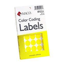 MACO Yellow Round Color Coding Labels, 3/4 Inches in Diameter, 1000 Per Box ,MR1212-4