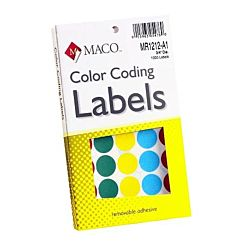 MACO Assorted Primary Round Color Coding Labels, 3/4 Inches in Diameter, 1000 Per Box (MR1212-A1)