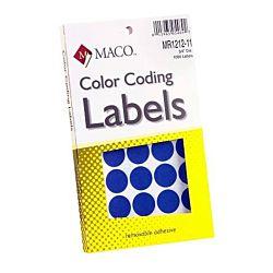 MACO Dark Blue Round Color Coding Labels, 3/4 Inches in Diameter, 1000 Per Box ,MR1212-11