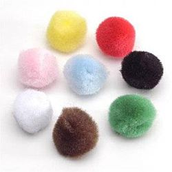 Acrylic Pom-Poms, 1 Inch, Solid Colors, 150/Bag