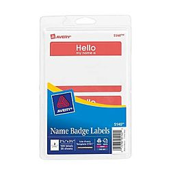 Self-Adhesive Name Badges, Hello My Name Is, Red, Pack Of 100