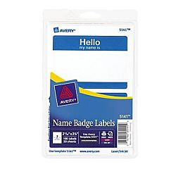 Self-Adhesive Name Badges, Hello My Name Is, Blue, Pack Of 100