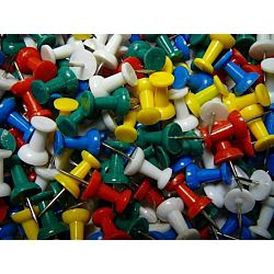 Push Pins, Assorted Colors, 100 Count