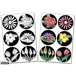 Jewish Color & Rub Stickers Flowers