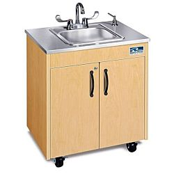 Children's classroom Sink,  Maple Cabinet With Stainless Steel Single Basin and Stainless Counter top