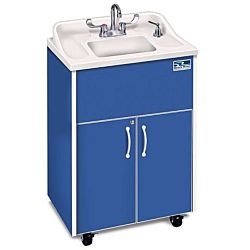 Children and Adults classroom Sink,  Blue Cabinet With Stainless Steel Single Basin and White Counter top